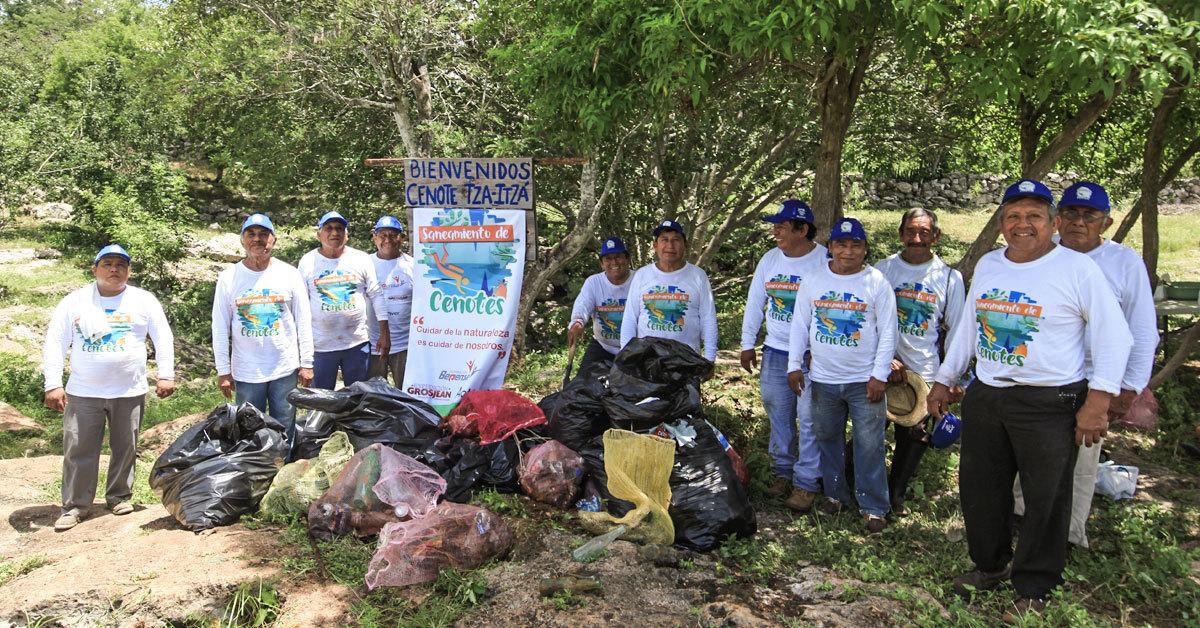 Fundación Bepensa, Grupo Financiero Actinver y Expedición Grosjean, viven juntos la experiencia de sanear un cenote.